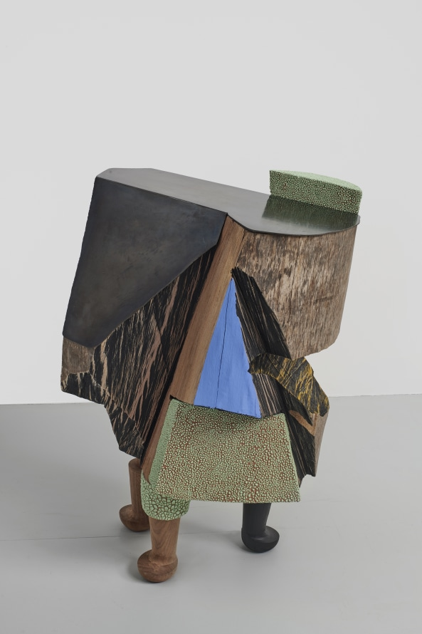 "Ever However, 2019, Glazed ceramic, wood, steel, paint, silver leaf, 31 x 19 x 22"" [HxWxD] (78.74 x 48.26 x 55.88 cm), Photo credit: Phoebe d'Heurle"