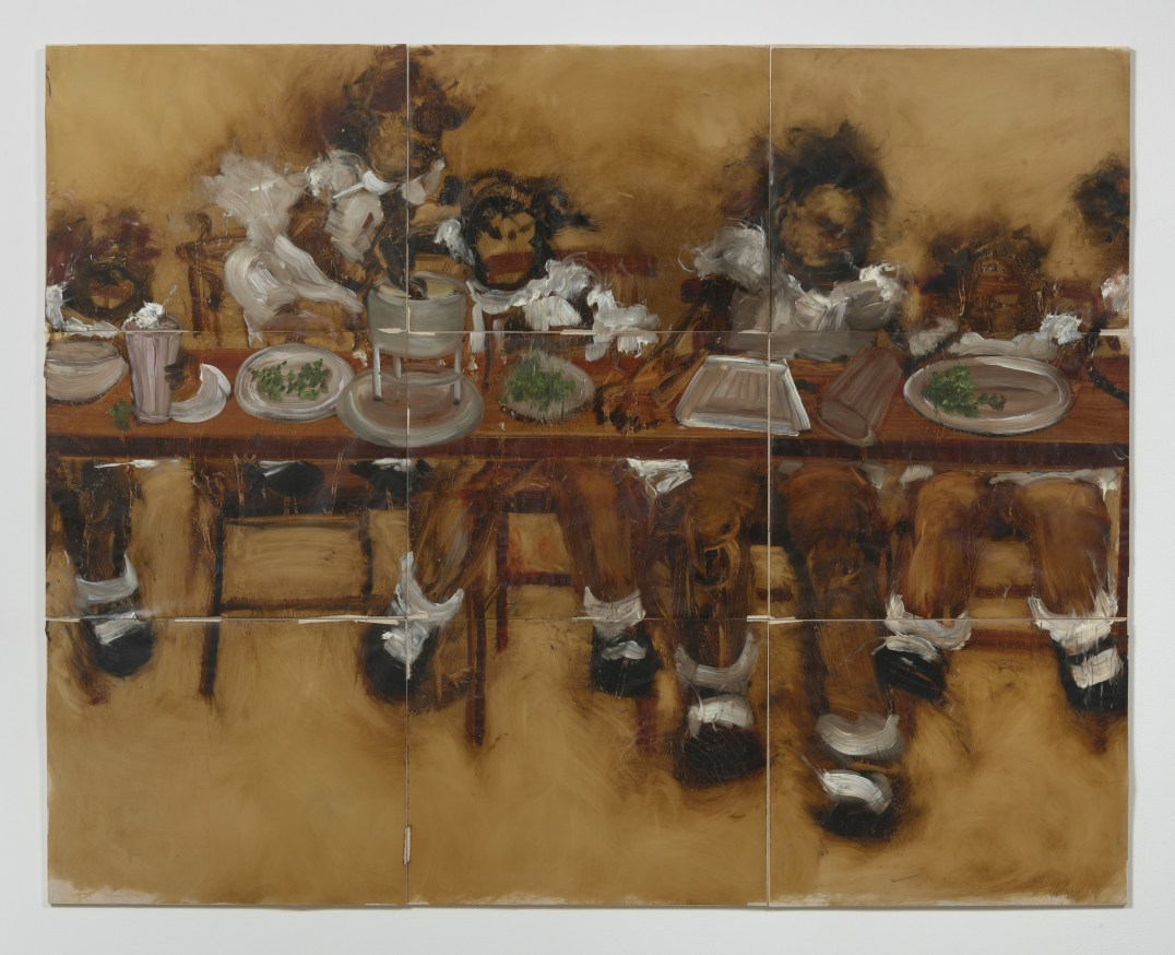 "The Lost Supper (cherry rickey), 2007, Oil on mylar on panel, 54 x 72"" [HxW] (144.78 x 182.88 cm) overall dimensions; 18 x 24"" [HxW] (45.72 x 60.96 cm) each, Photo credit: Robert Wedemeyer"