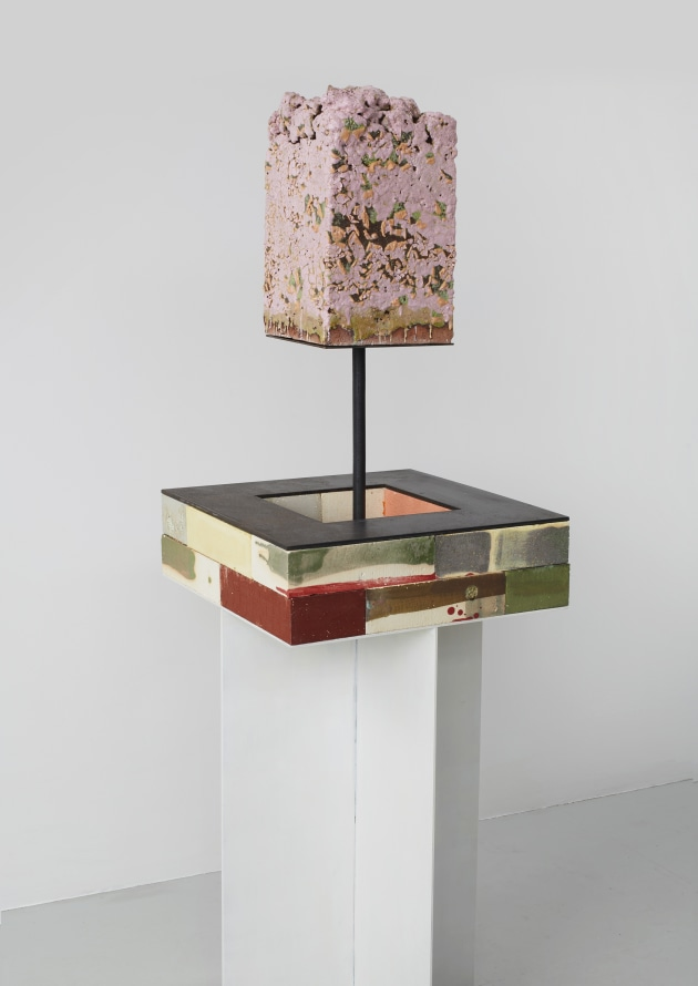 "Fictional Exchange, 2019, Glazed ceramic, glazed firebrick, steel, 61 x 18 x 18"" [HxWxD] (154.94 x 45.72 x 45.72 cm)"