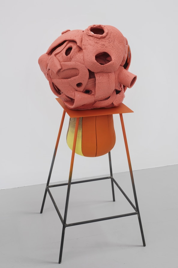 "The Air is Full, 2019, Glazed ceramic, wood, steel, paint, 45 x 19 x 19"" [HxWxD] (114.3 x 48.26 x 48.26 cm), Photo credit: Phoebe d'Heurle"