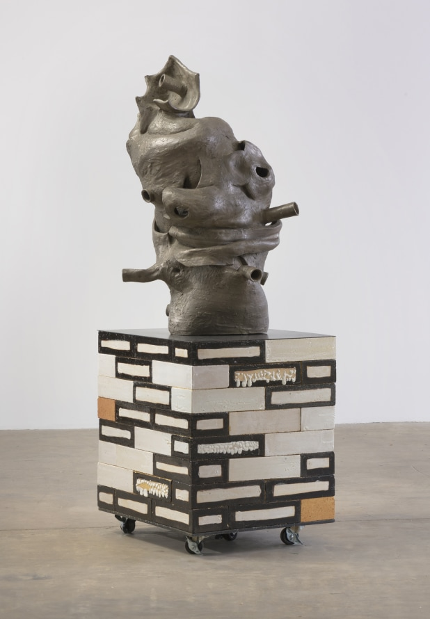 "Matter of Time, 2019, Glazed hard brick, cast bronze, steel, 54.5 x 22.5 x 18"" [HxWxD] (138.43 x 57.15 x 45.72 cm), Edition 1 of 3, 1 AP"