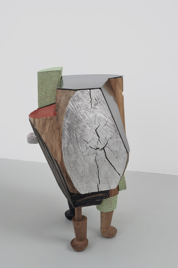 "Ever However, 2019, Glazed ceramic, wood, steel, paint, silver leaf, 31 x 19 x 22"" [HxWxD] (78.74 x 48.26 x 55.88 cm), Photo credit: Robert Wedemeyer"