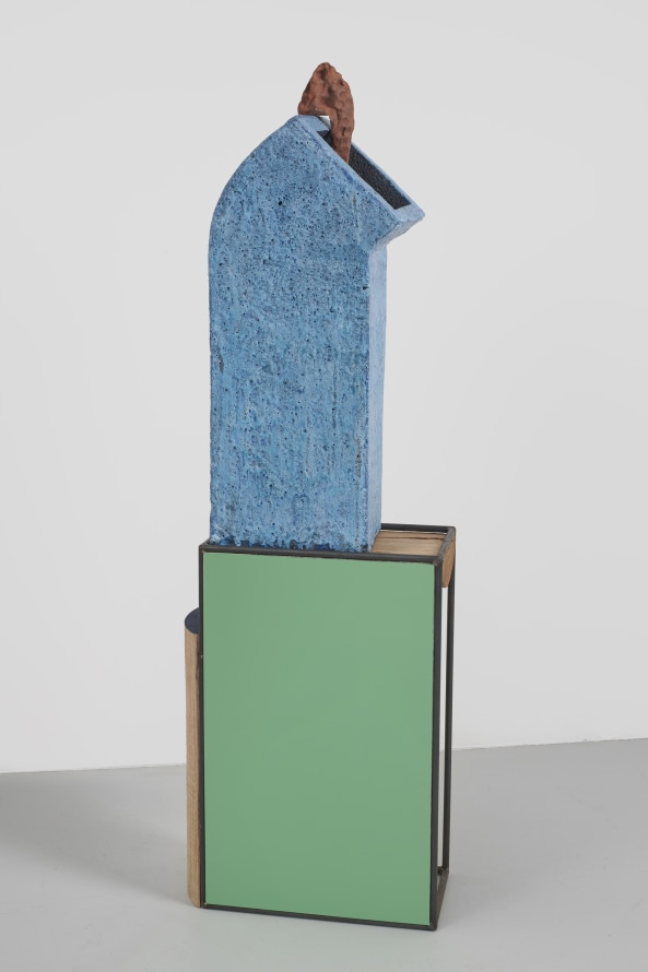 "Unpredicted, 2019, Glazed ceramic, steel, painted hard wood, paint, 59 x 16.5 x 9.5"" [HxWxD] (149.86 x 41.91 x 24.13 cm), Photo credit: Phoebe d'Heurle"