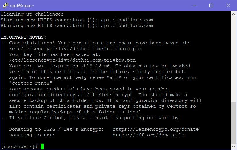 Cài đặt Let's Encrypt Wildcard SSL