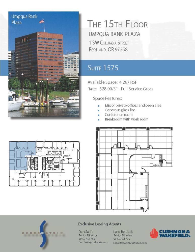 Umpqua Bank Plaza 1 Sw Columbia Street 15th Floor Unit