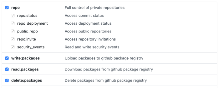 Screenshot of GitHub generate Personal Access Token page with relevant options selected