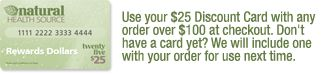Natural Health Source $25 Dollar Gift Card