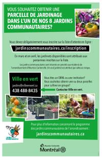 Inscriptions jardins communautaires - Ahuntsic-Cartierville