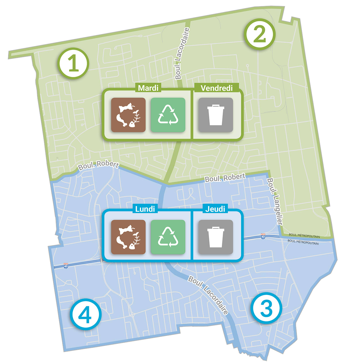 Map divided into 2 zones: a green zone at the top for sectors 1 and 2; a blue zone at the bottom for sectors 3 and 4.