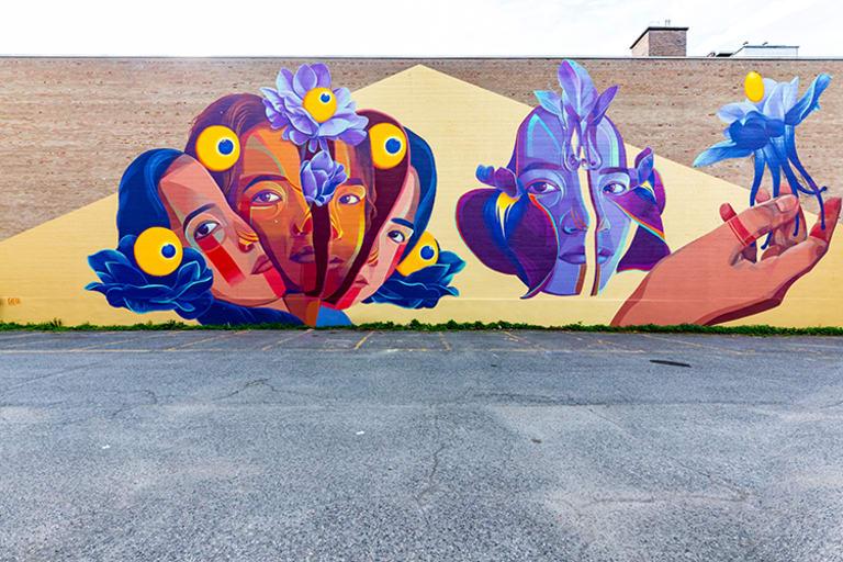 Murale de l'artiste Gleo, située au 3614, rue Saint-Urbain