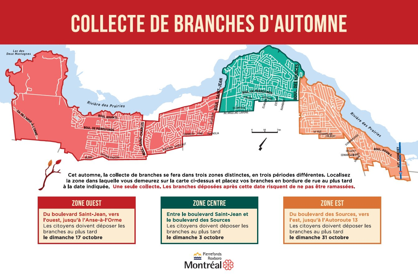 Collecte des branches Pierrefonds-Roxboro Automne 2021