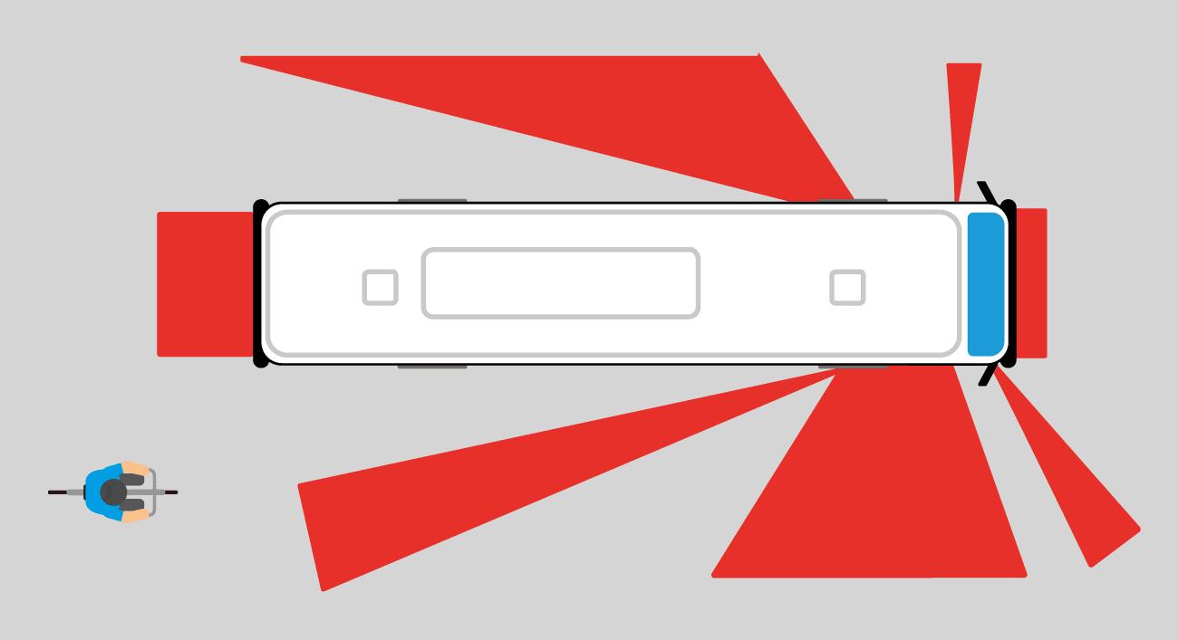 Un schéma représentant un autobus vu de haut et ses angles morts en rouge