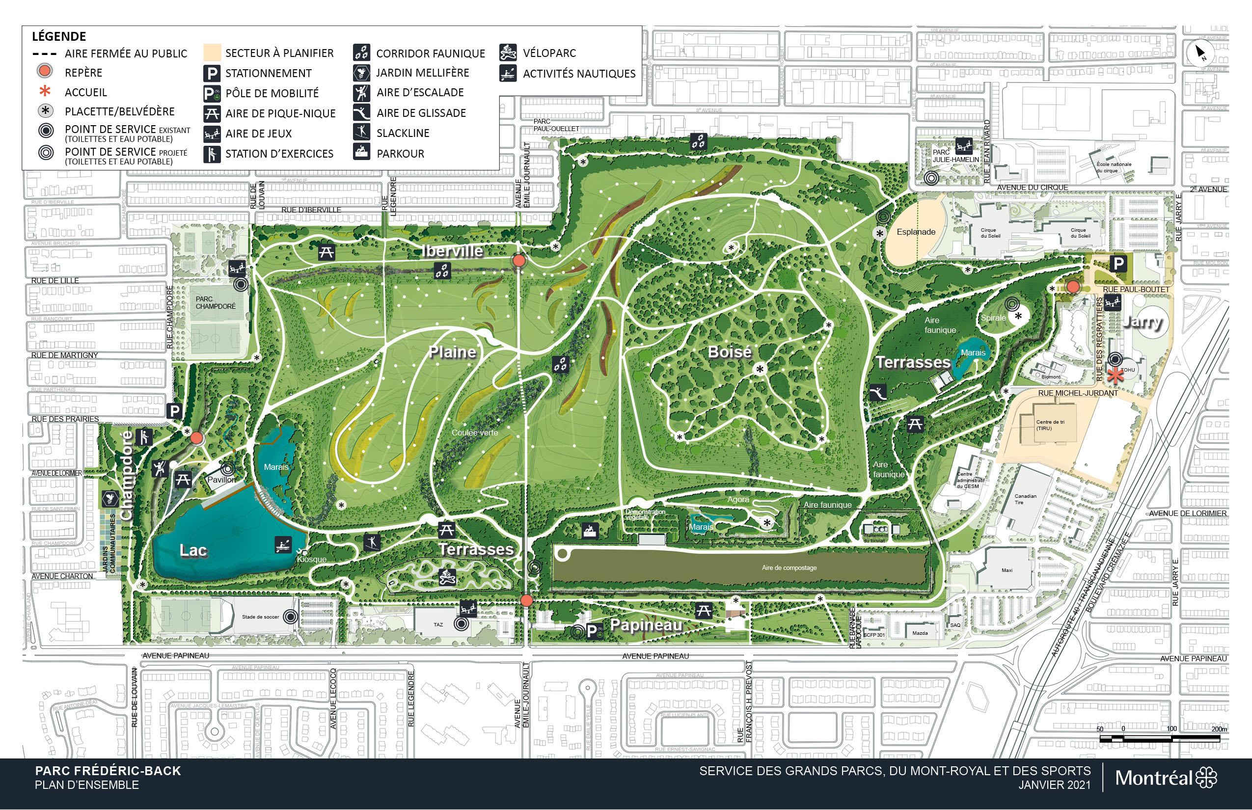 Plan d'ensemble du parc Frédéric-Back