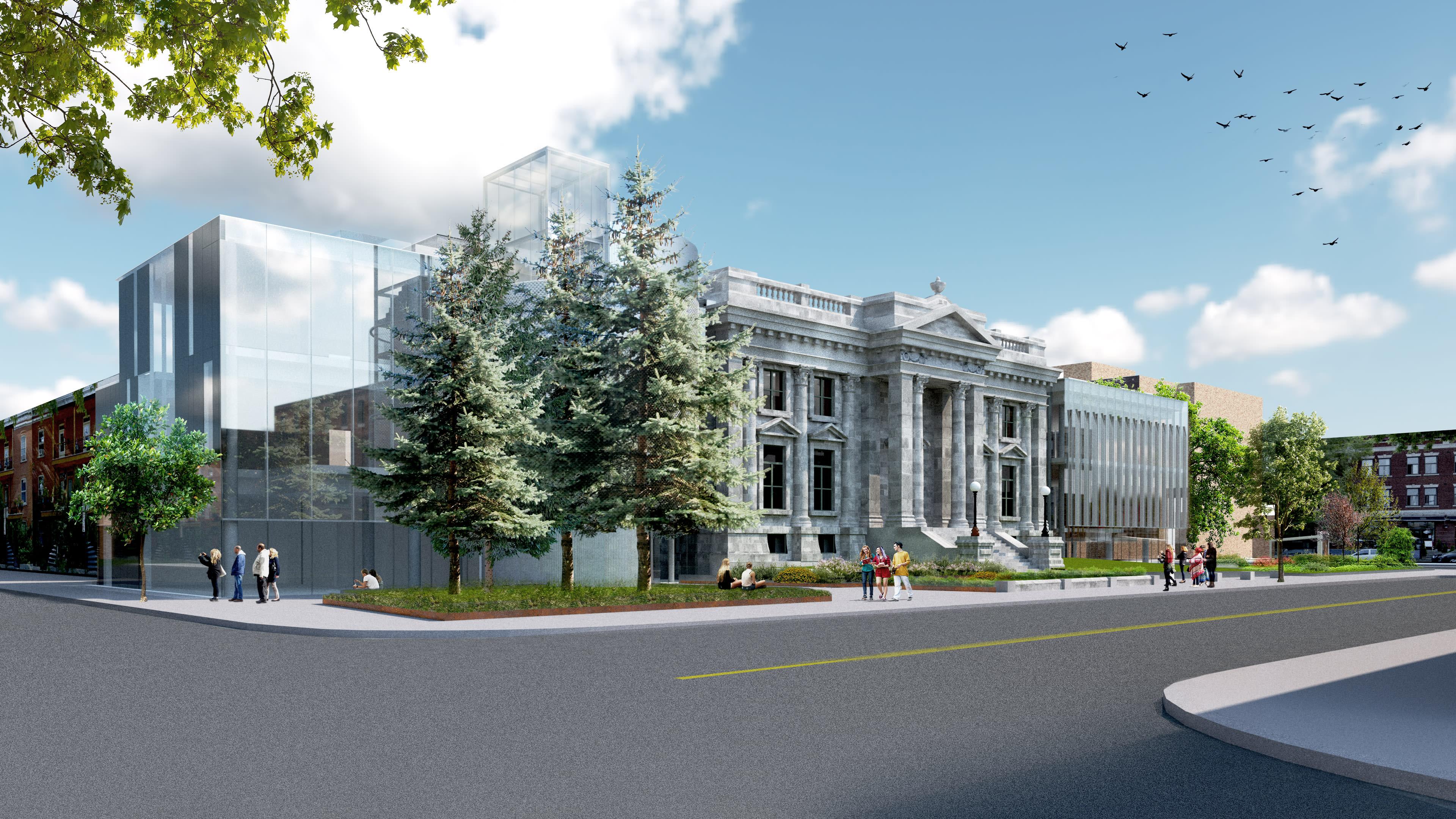 Vue de la nouvelle bibliothèque Maisonneuve, angle Desjardins et Ontario