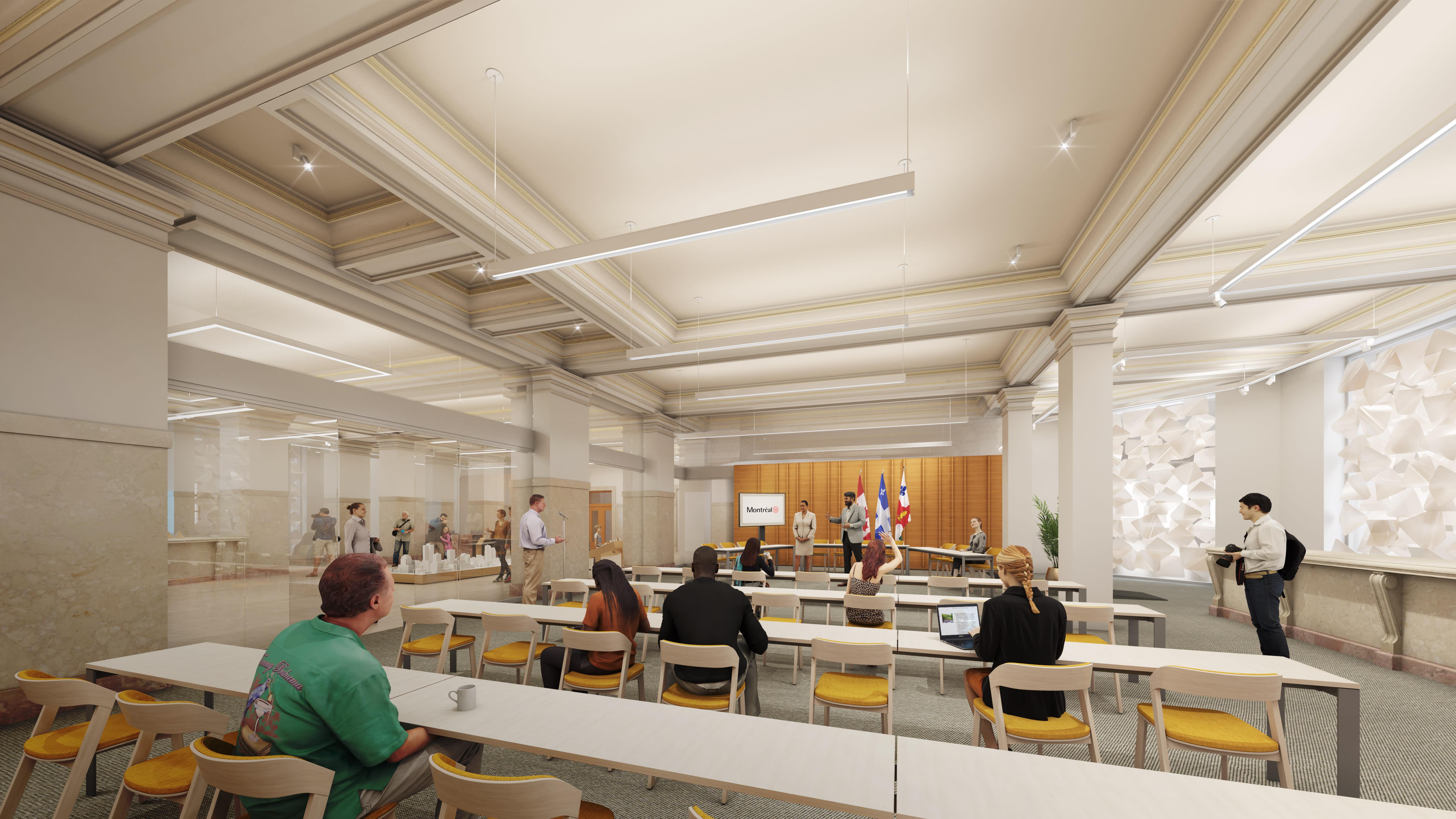 Vue de la nouvelle salle pour les consultations publiques des commissions ou pour des événements