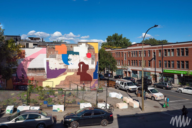 Murale à l'angle des rues Ontario Est et Saint-Hubert