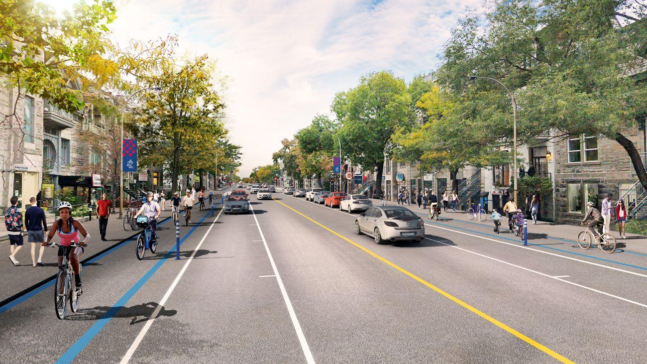 Réseau Vélo Express REV Montréal, rue Saint-Denis entre Roy et Duluth
