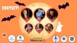 Image aux couleurs de l'Halloween avec les photos des 6 artistes participants