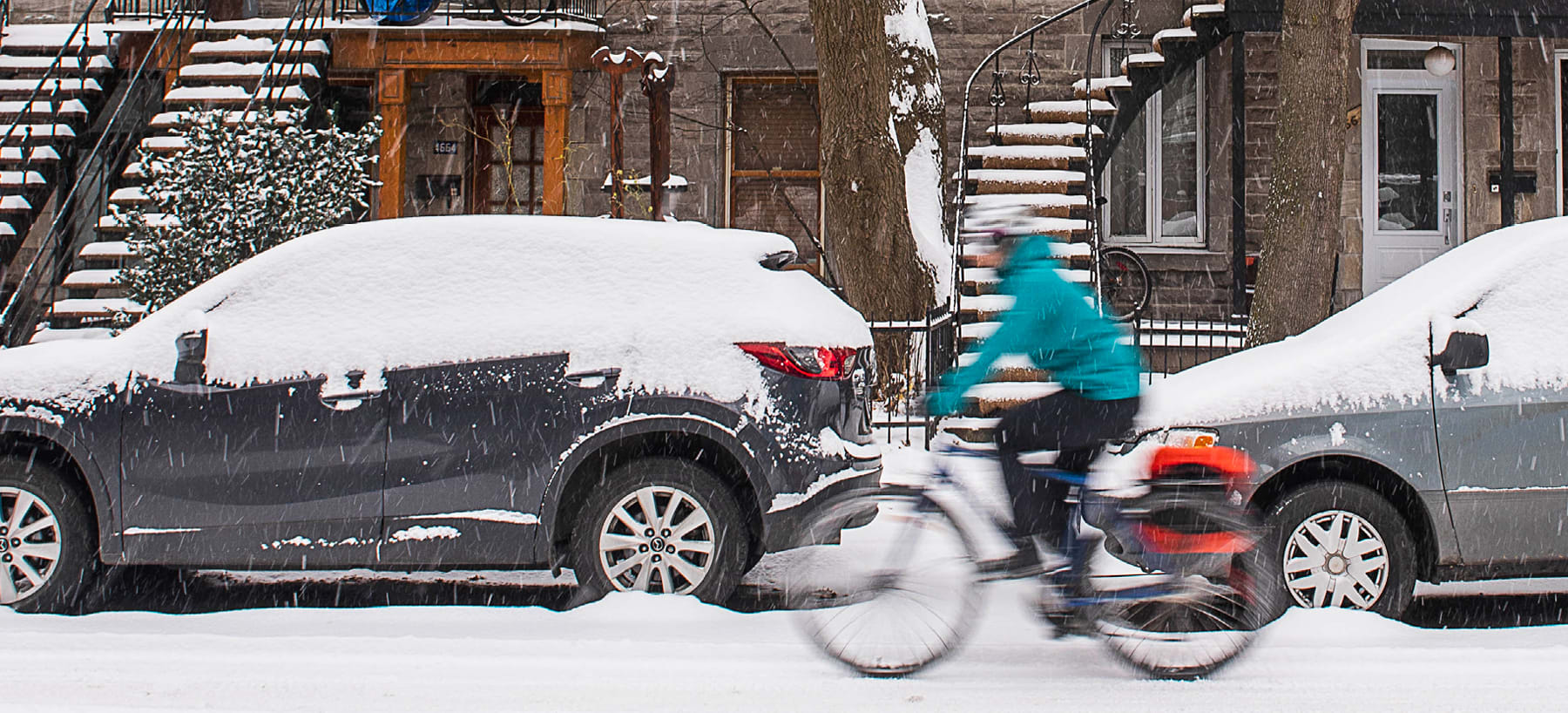 Riding a bike in the snow