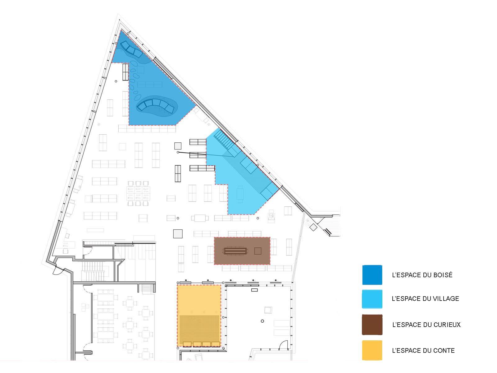 Plan d'aménagement du parcours ludique à la bibliothèque de Pierrefonds