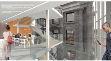 Image de l'intérieur de la future bibliothèque Maisonneuve