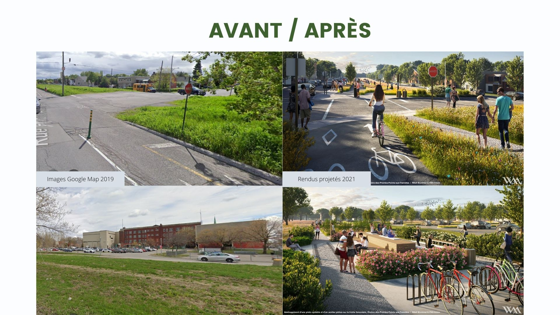 Un avant/après qui démontre bien comment le parc va transformer le paysage de Pointe-aux-Trembles.