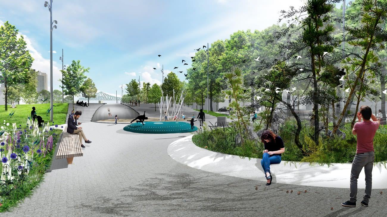 Perspective du futur square Viger, l'aire de jeux