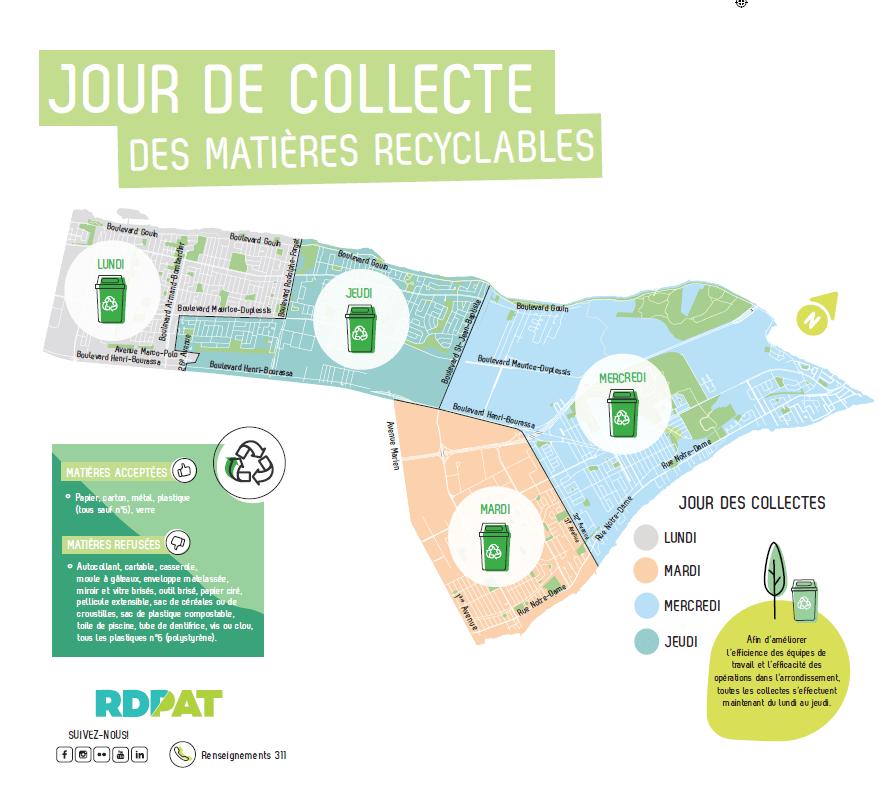 La carte des journées pour la collecte des matières recyclables à RDP-PAT.