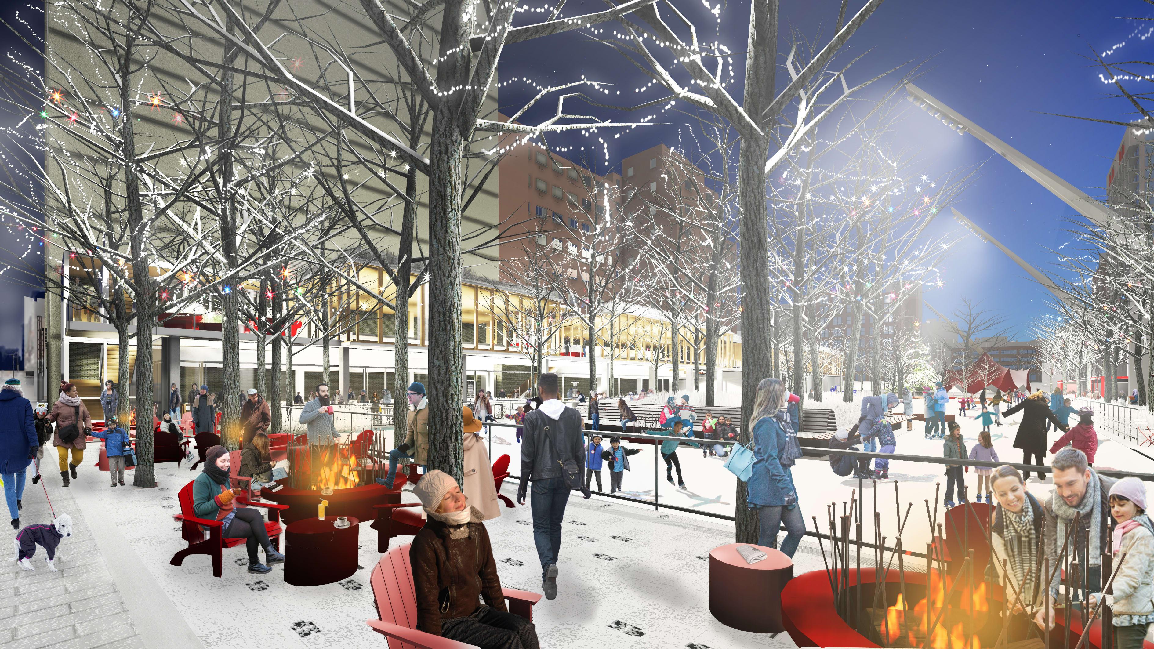 Esplanade Tranquille - Vue ambiance hivernale de nuit