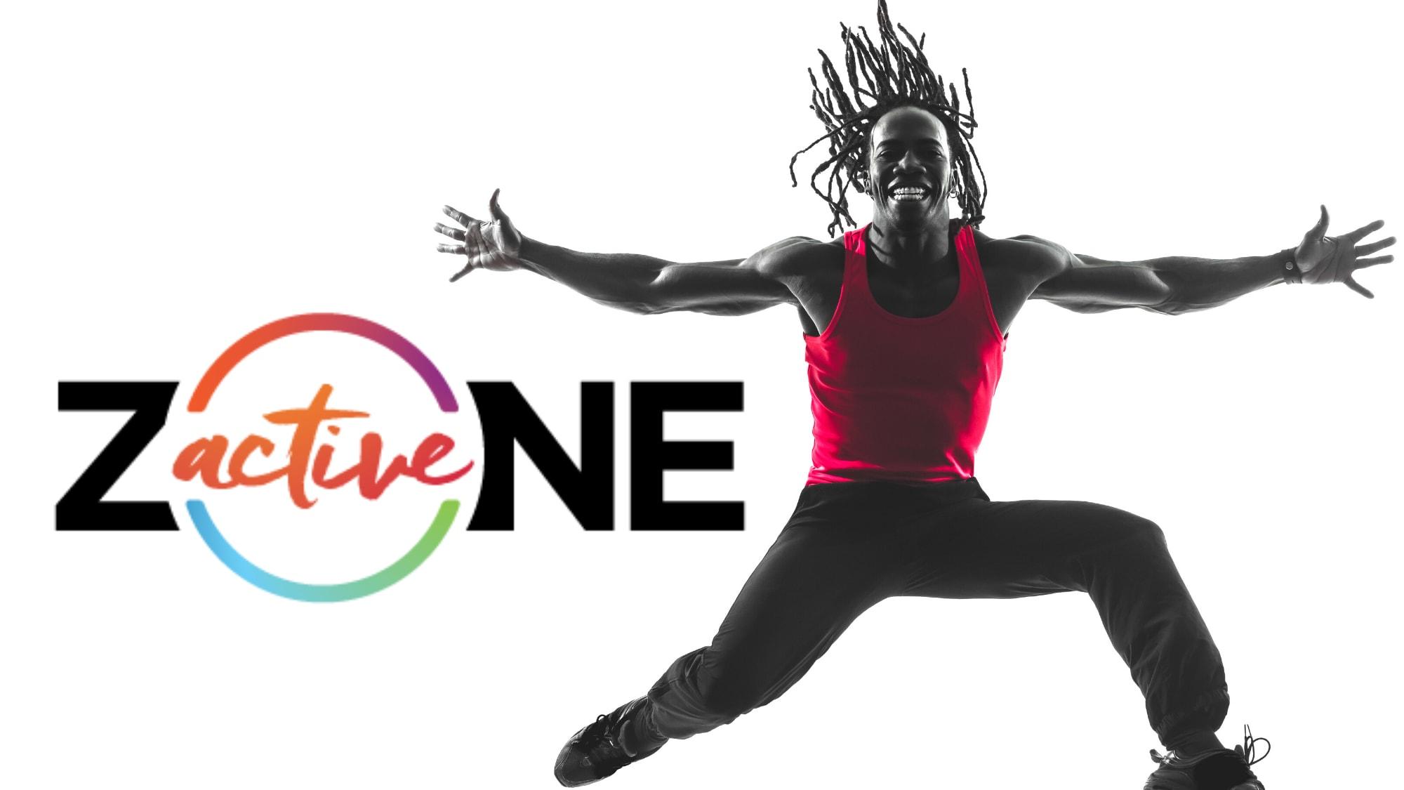 Home qui saute avec le logo de zone active