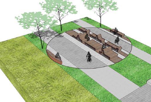 Quatre «haltes de détente» thématiques sont prévues le long du futur parc linéaire de la friche ferroviaire.