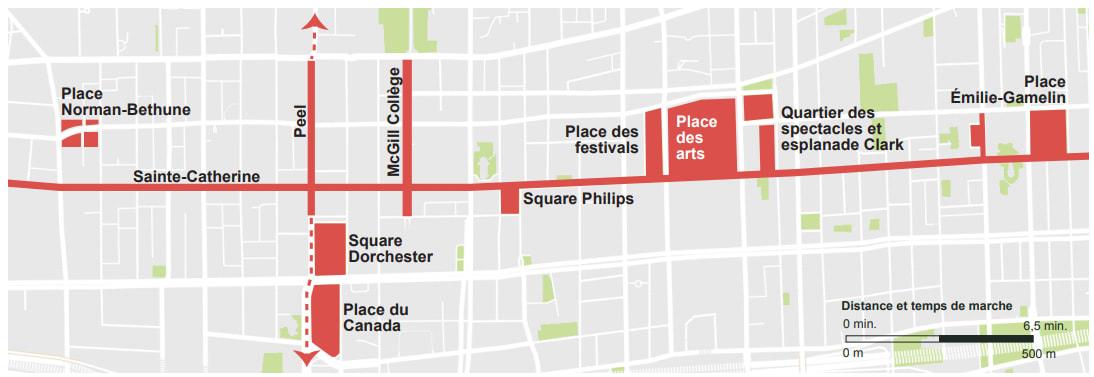 Lieux publics du centre-ville reliés par la rue Sainte-Catherine