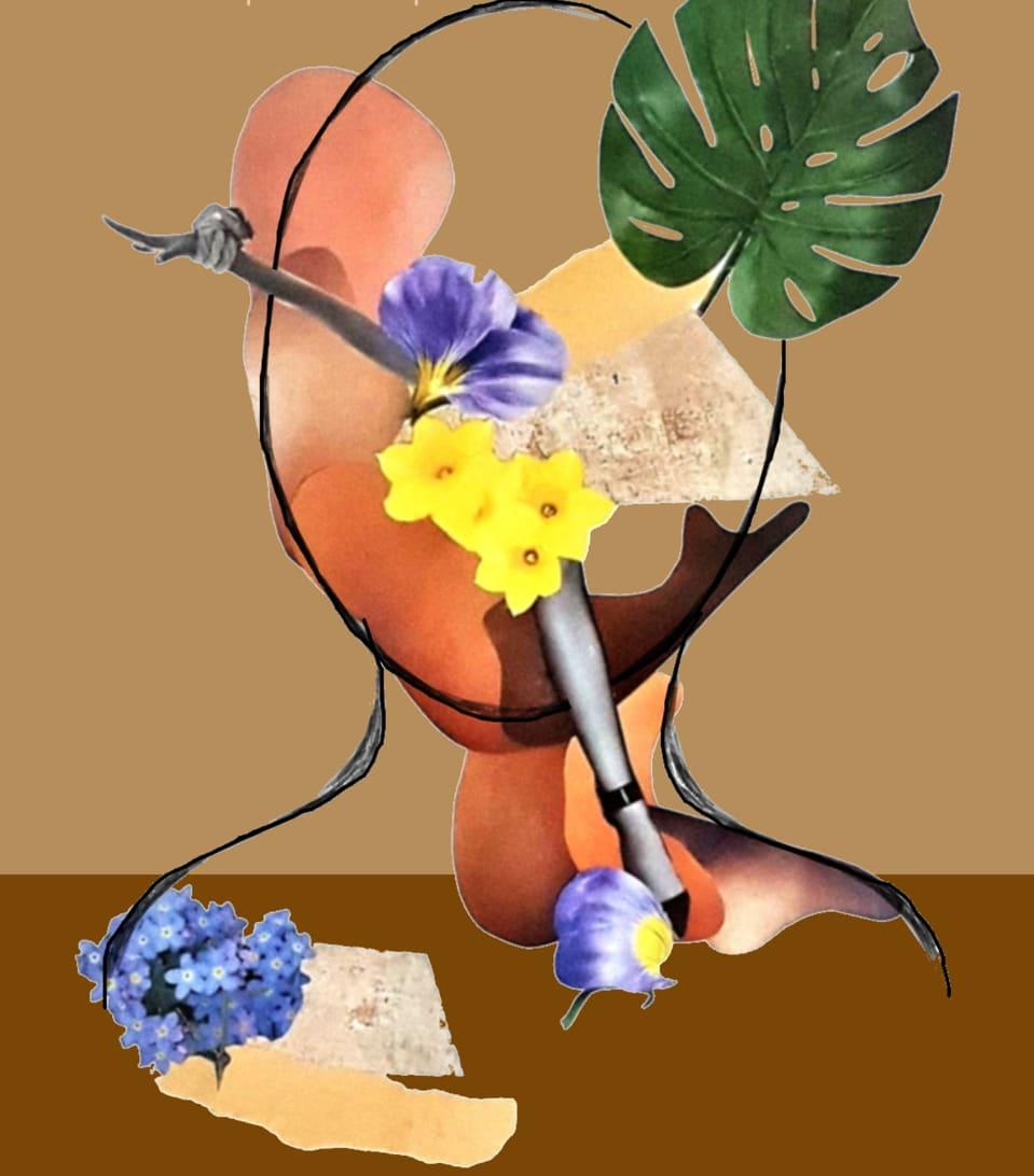 Photo montage incluant plusieurs éléments : membres du corps humain, fleurs, etc.