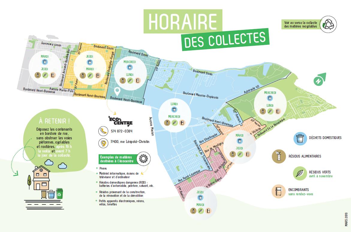 La carte des journées de collectes à l'arrondissement de RDP-PAT.