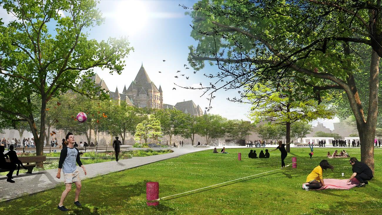 Perspective du futur square Viger, espaces verts