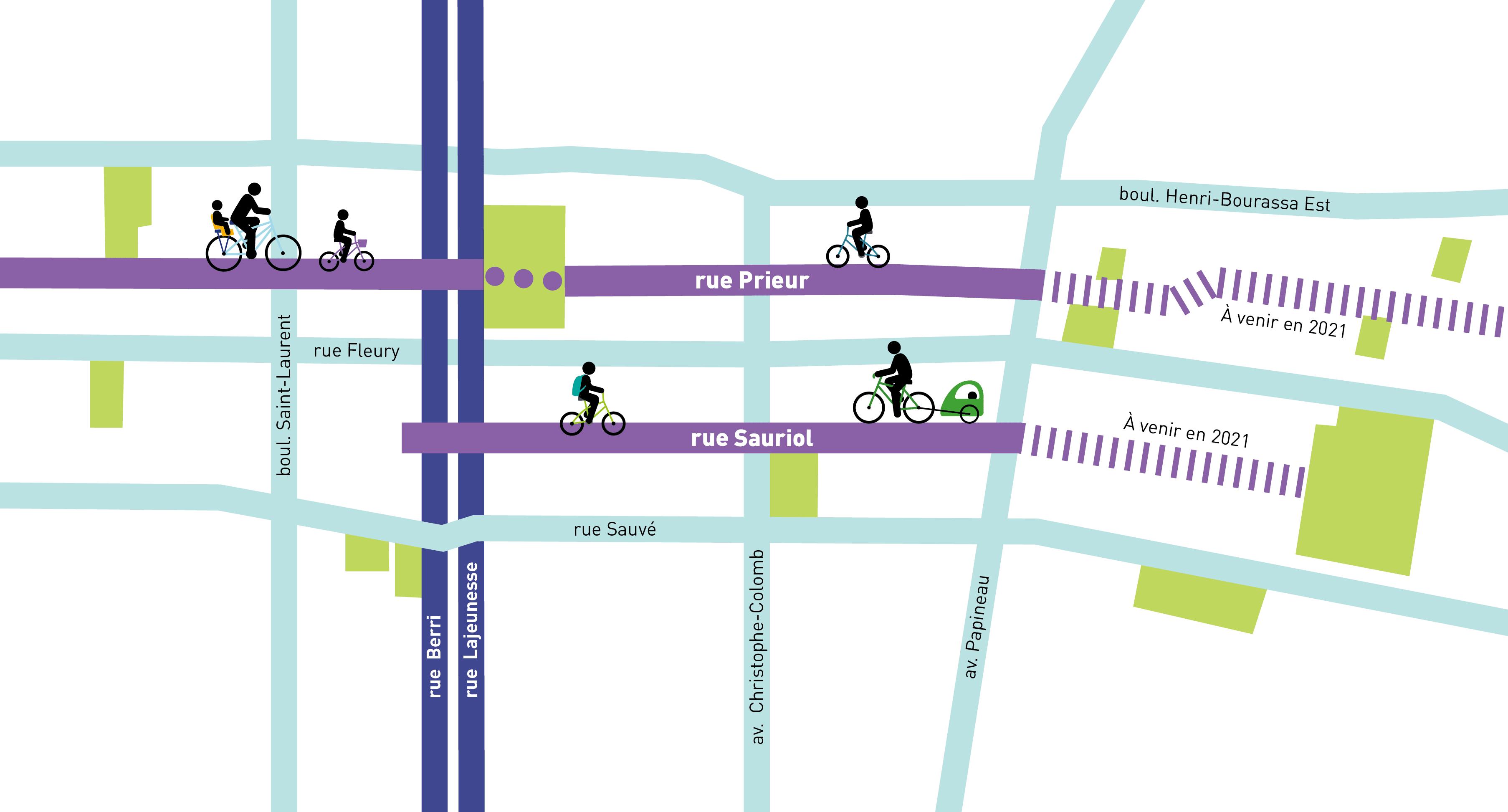carte illustrant la localisation des pistes cyclables sur les rues Prieur et Sauriol à l'ouest de l'av. Papineau réalisées en 2020