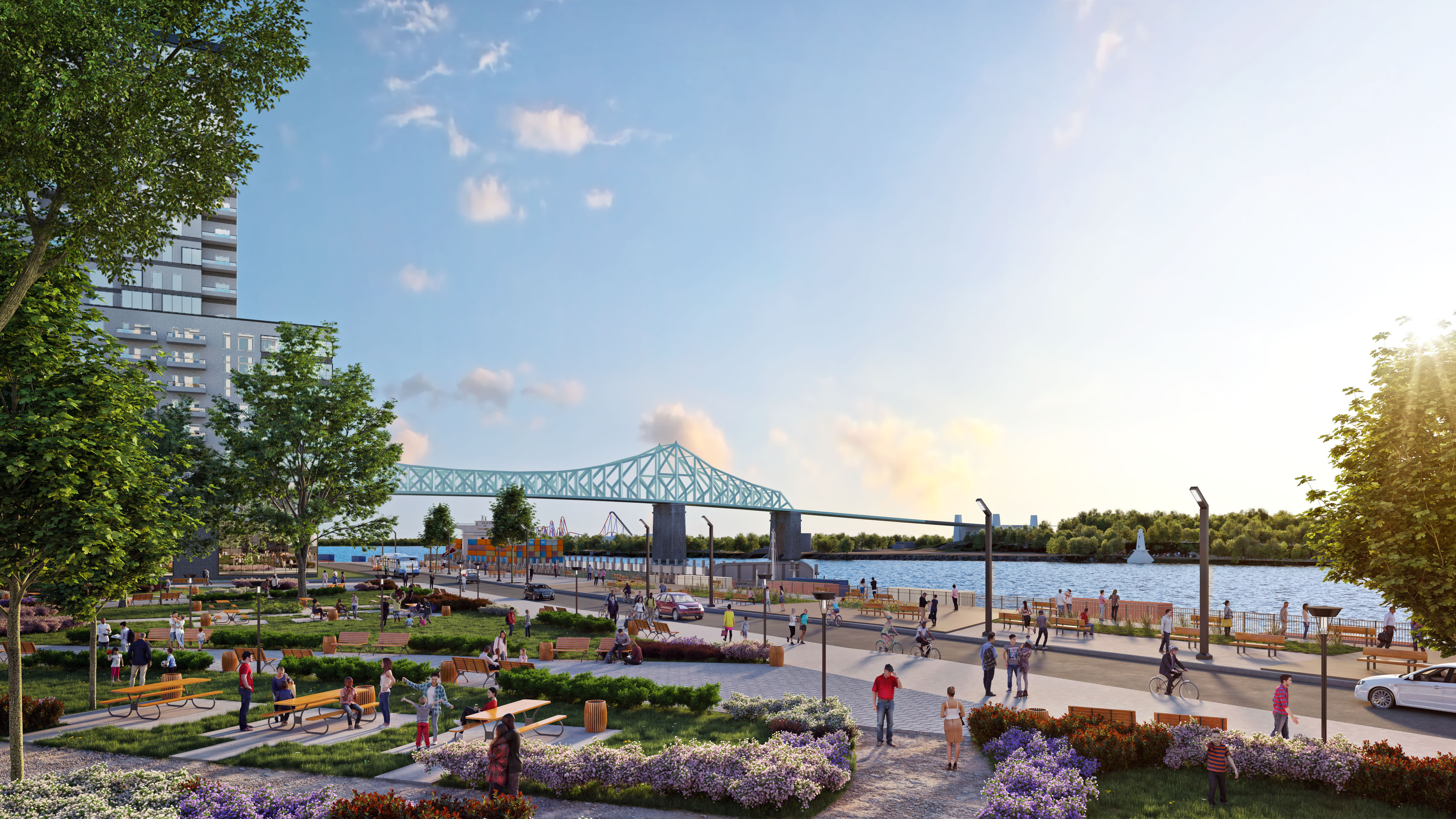 Un grand parc central de 1,2 hectare face au fleuve