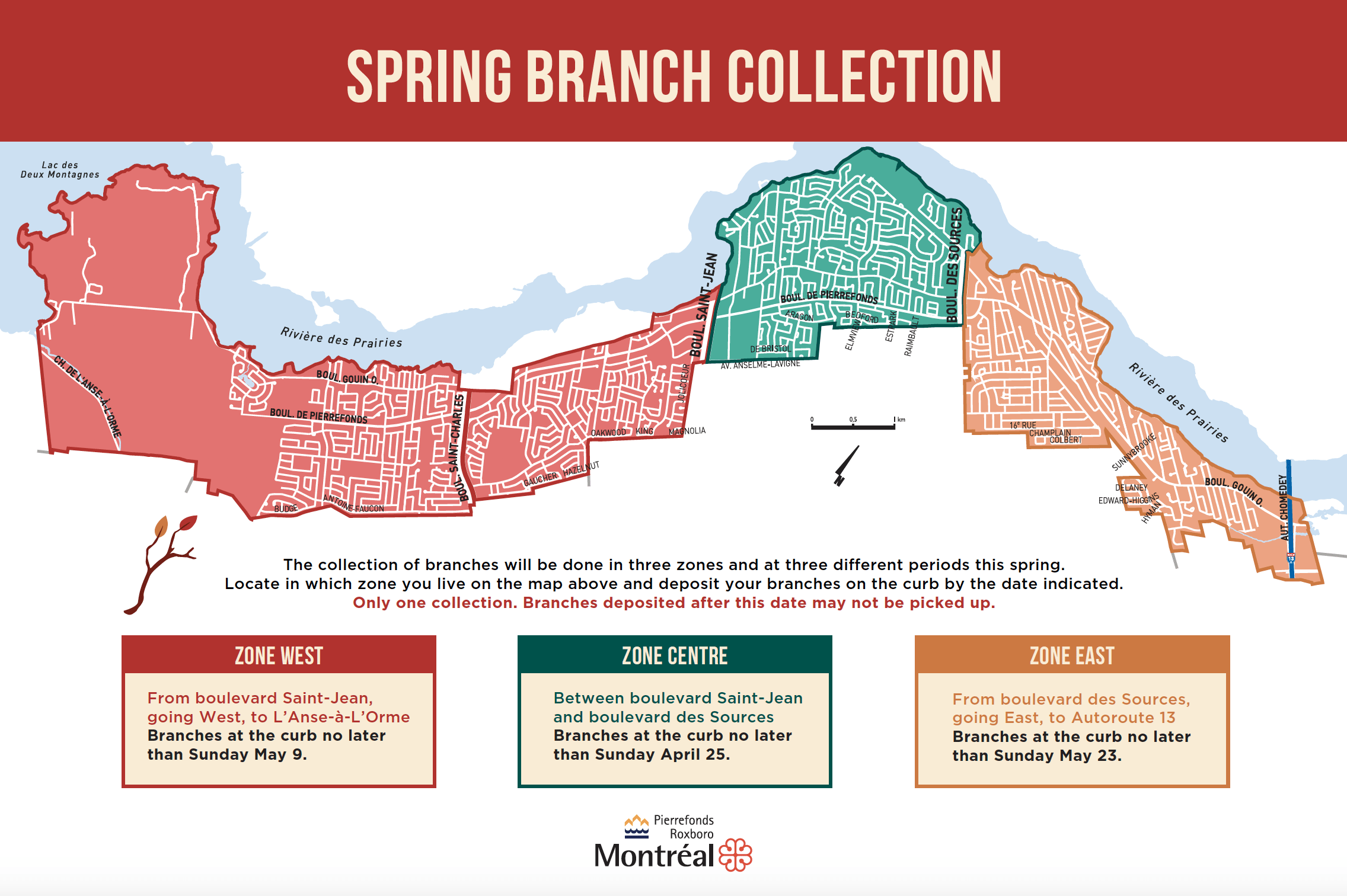 Map of zones of branch collections in Pierrefonds-Roxboro