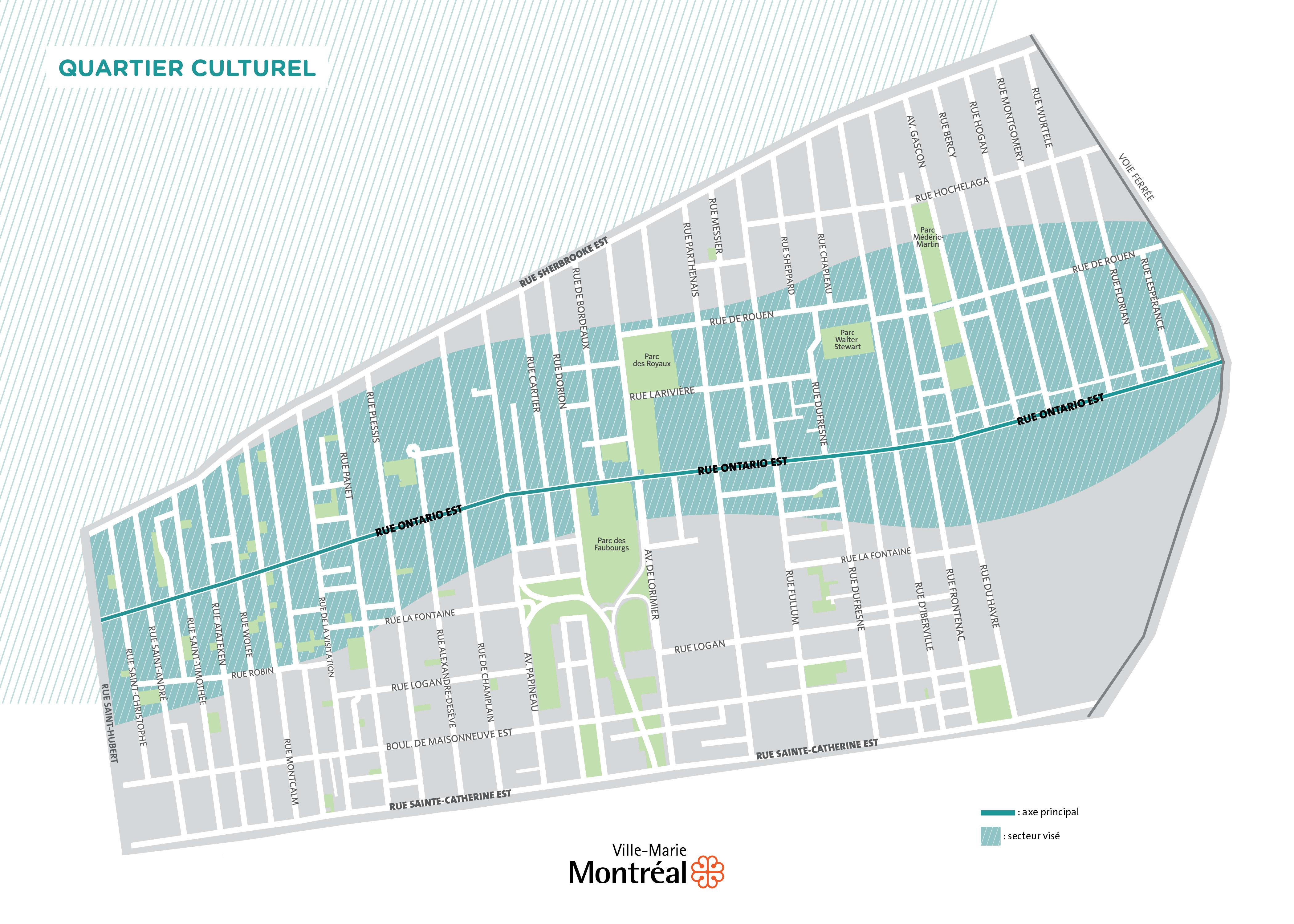 Carte géographique entre les rues Saint-Hubert, Lespérance, Sherbrooke Est et Sainte-Catherine Est
