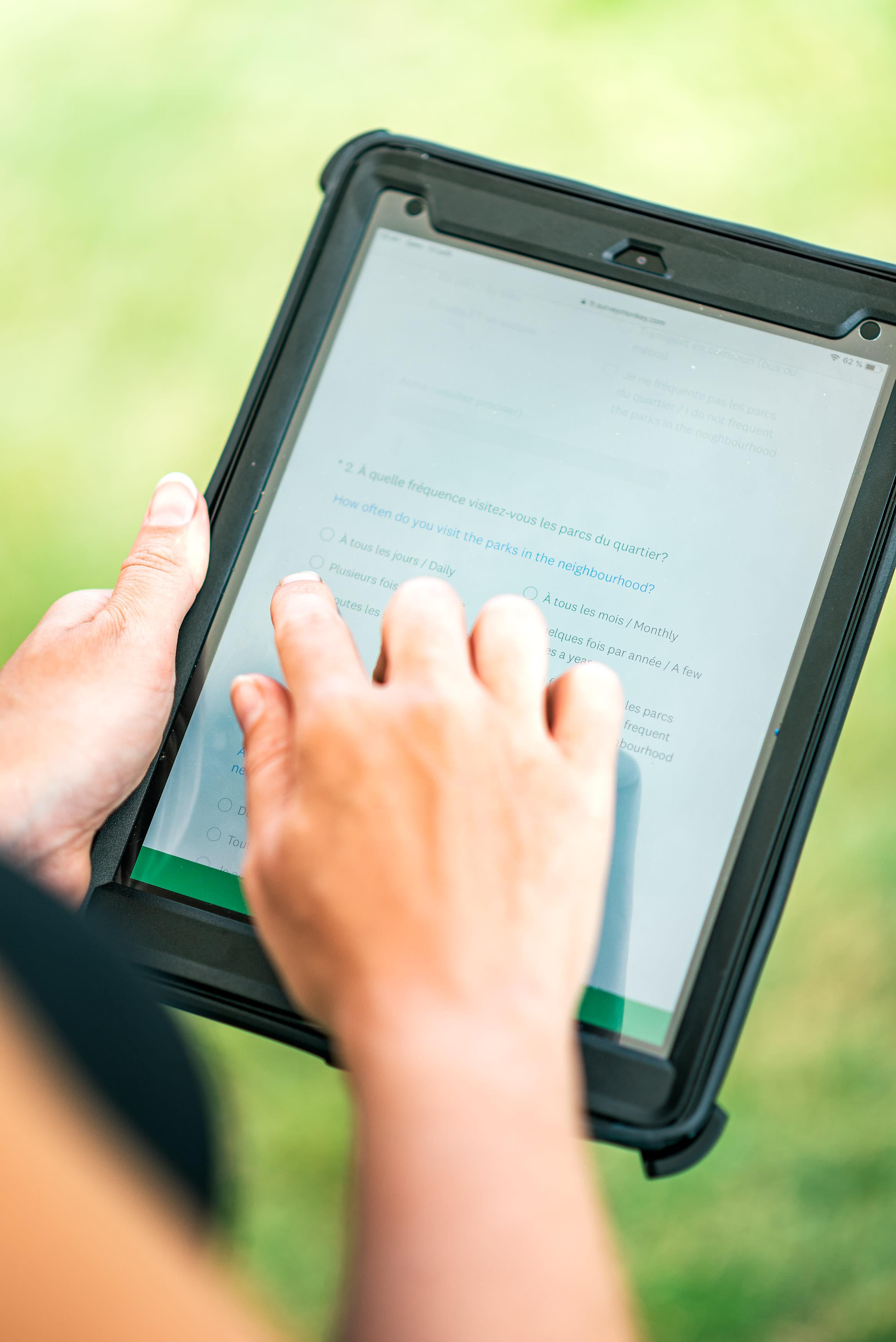 Questionnaire par le biais d'une tablette numérique