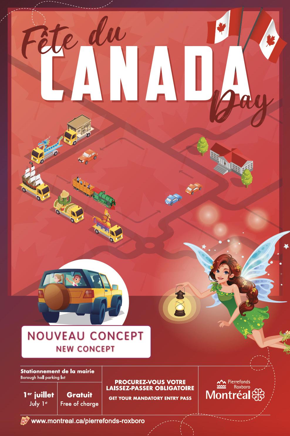 Affiche promotionnelle de la Fête du Canada à Pierrefonds-Roxboro
