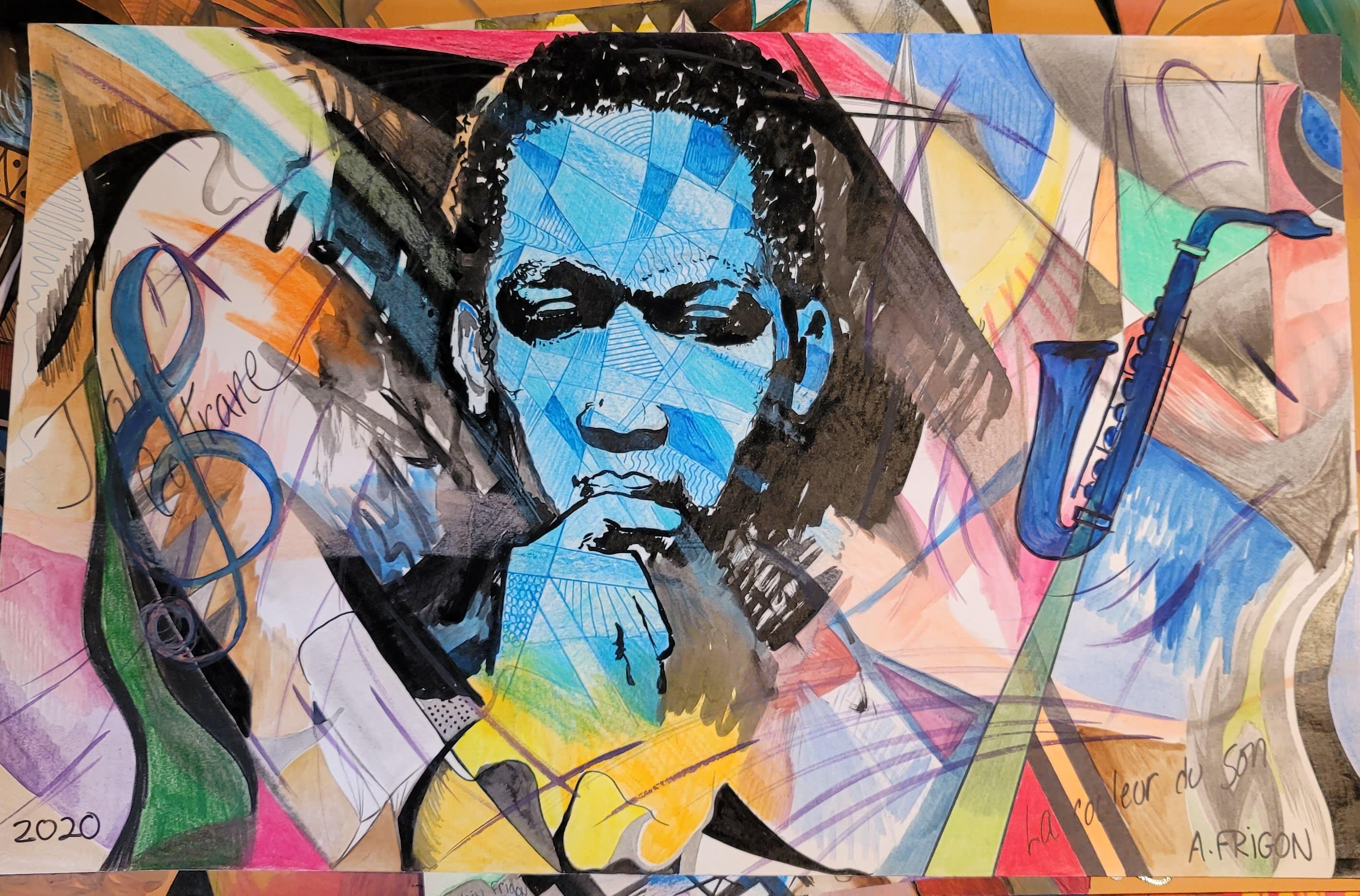 Portrait du musicien John Coltrane, dessin au crayon et au pinceau