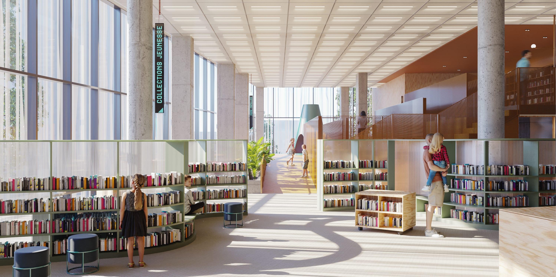 Aménagement proposé pour la bibliothèque du centre Sanaaq