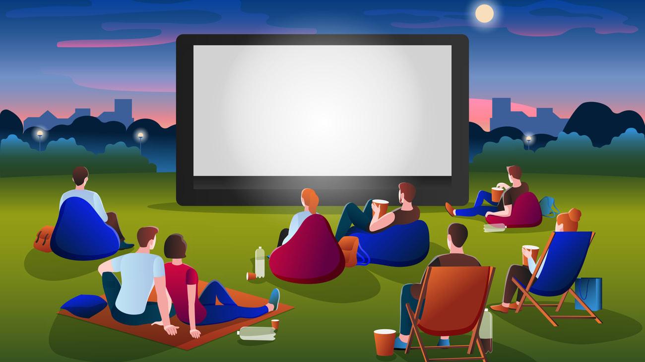 illustration de cinéma en plein air dans un parc