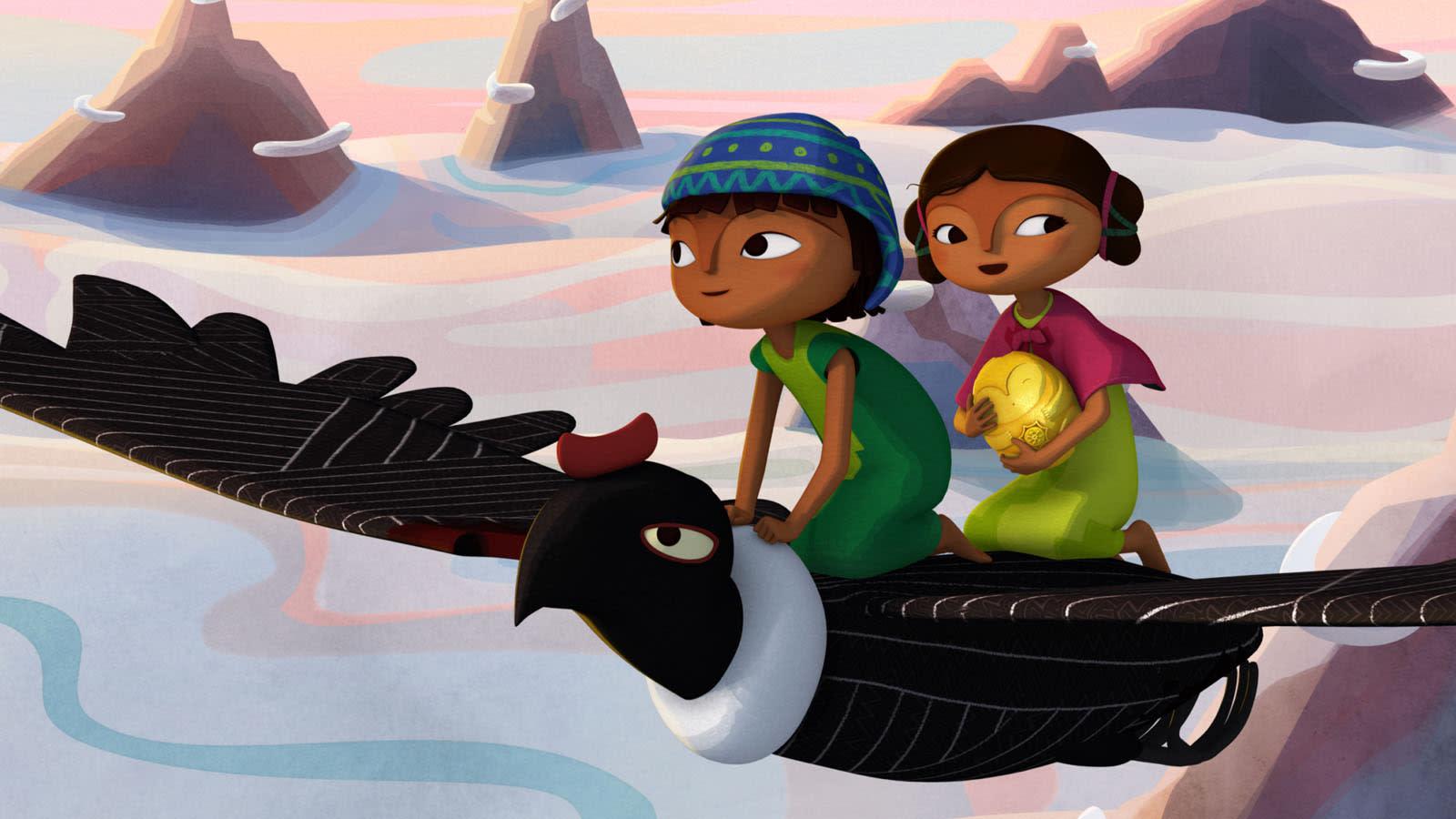 Deux enfants assis sur un oiseau en plein vol