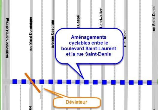 Tracé de la piste cyclable sur la rue Villeray, entre la rue Saint-Denis et le boulevard Saint-Laurent