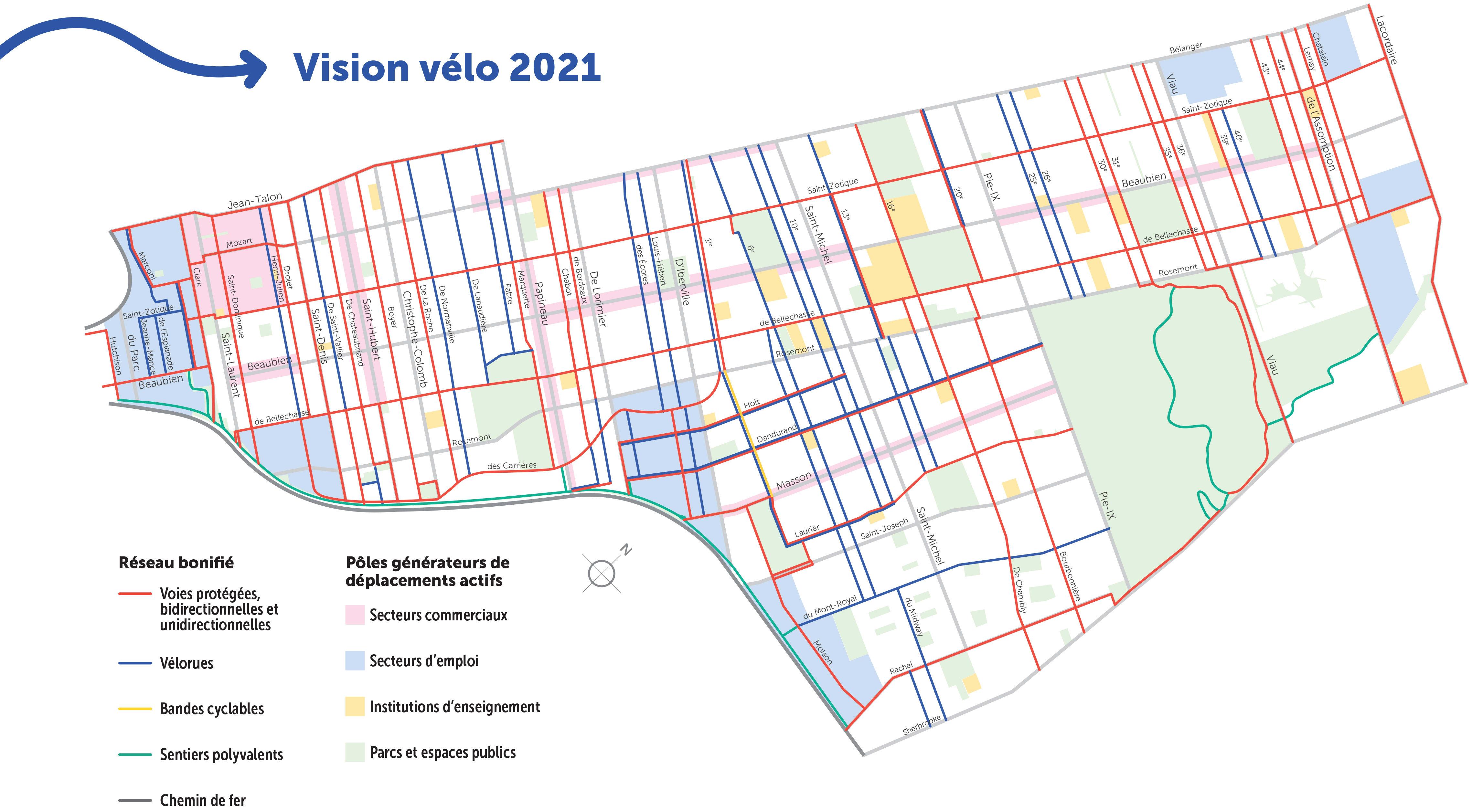 Carte de la vision vélo de l'arrondissement de Rosemont-La Petite-Patrie