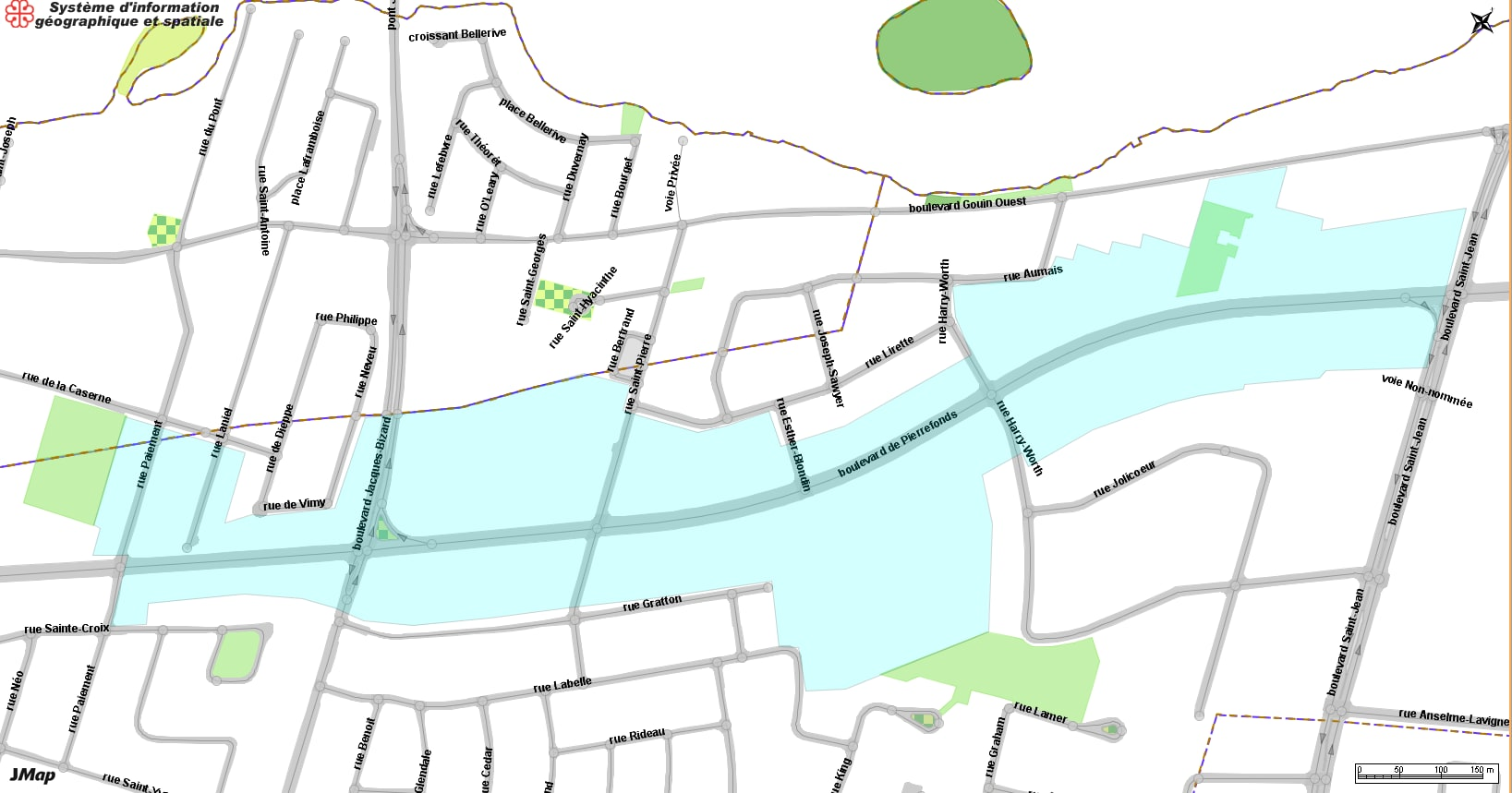 Zone concernée par la coupure d'eau complète le 4 octobre à Pierrefonds-Roxboro