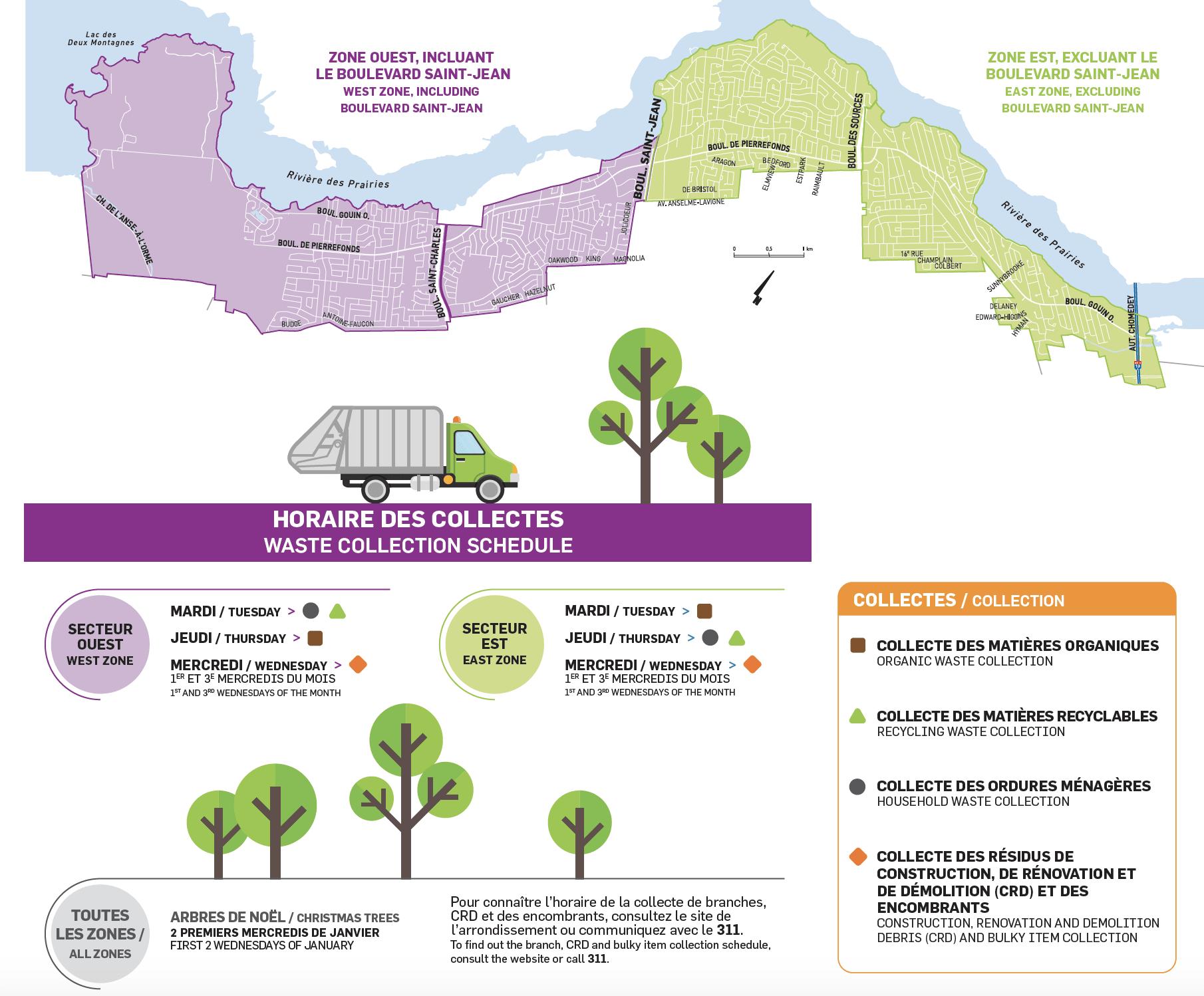 Nouvel horaire - Cartes des collectes (8 logements et moins)