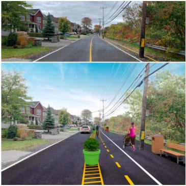 Image du boulevard avant et après le Projet poussette